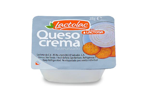 Queso Crema en porción 28 grm Lactolac 144 unidades