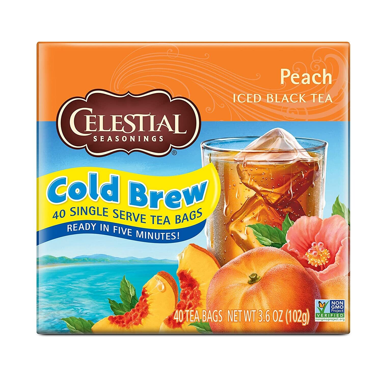 Celestial Seasonings Cool Brew caja Té negro y Durazno 40 sachets de 42 grm