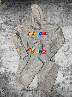 "Grey ""Charlotte"" Multi Color Sweat  suite"