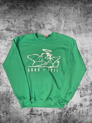 """Good X EVil  Green-Crew Neck"