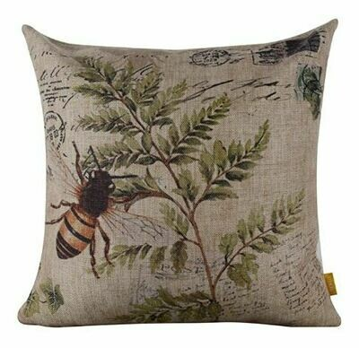 Bee On Tan Burlap Pillow
