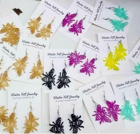 Earring - printed acrylic bee