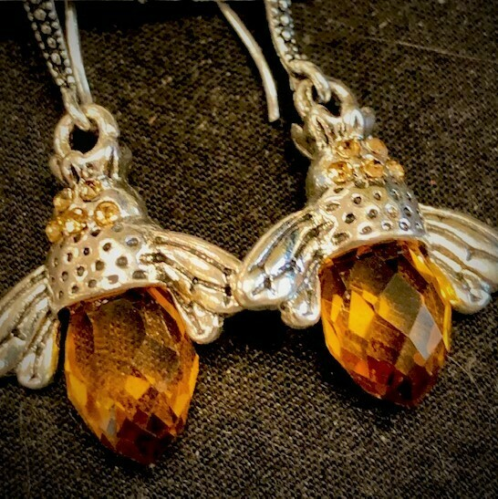 Crystal Bee Silver Wire Earrings