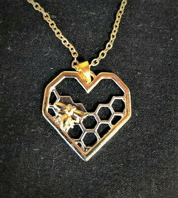 Silver and Gold Honeycomb Heart Necklace 20