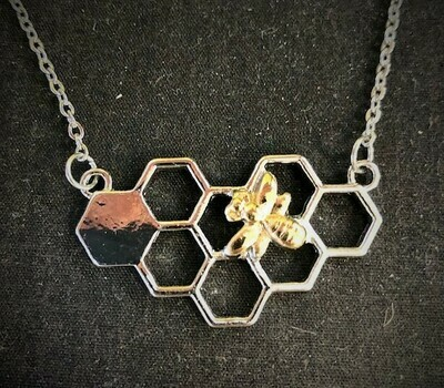 Gold Bee on Silver Horizontal Honeycomb Necklace 20