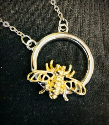 Gold Bee on Silver Circle Necklace 20