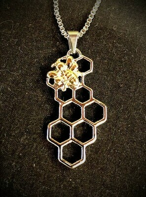 Gold Bee on Vertical Silver Honeycomb Necklace 20