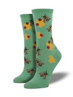 Teal Honeycomb and Bee Socks