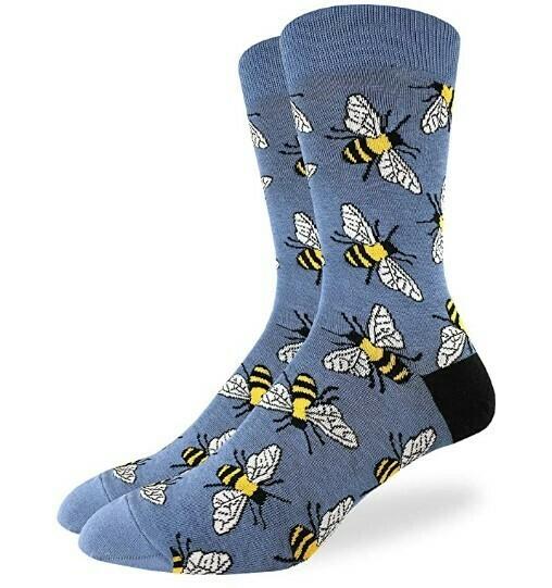 Good Luck Bees on Blue Socks