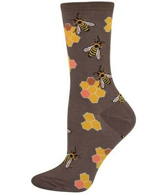 Socksmith Womans Busy Bees Crew Brown