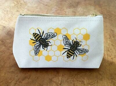 Noteworthy Bee Canvas Zip Pouch