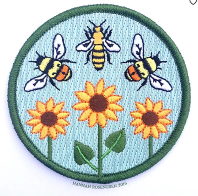 3 Bees and Flowers Patch- Hannah Rosengren
