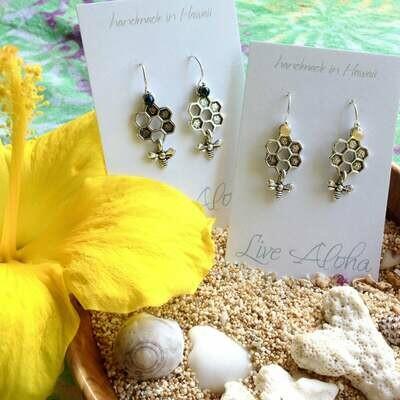 Silver Dangle Earrings with Bead