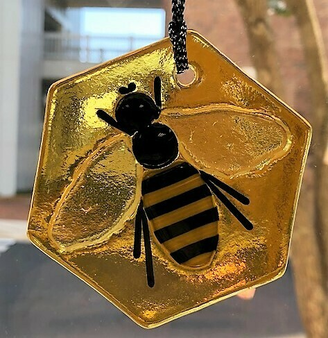 Infused Glass Honeybee Ornament