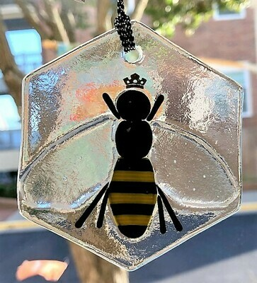 Infused Glass Queen Bee Ornament