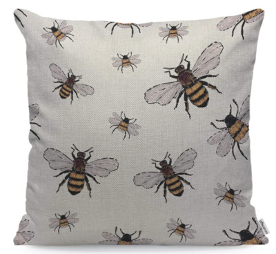 All Over Bee W/Blue Wings Pillow