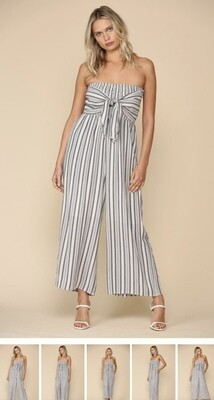 Gray & White Strapless Jumpsuit