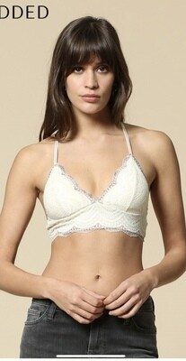 Lacey IVORY/MOCHA Scallop 2 Tone Detail PADDED Bralette