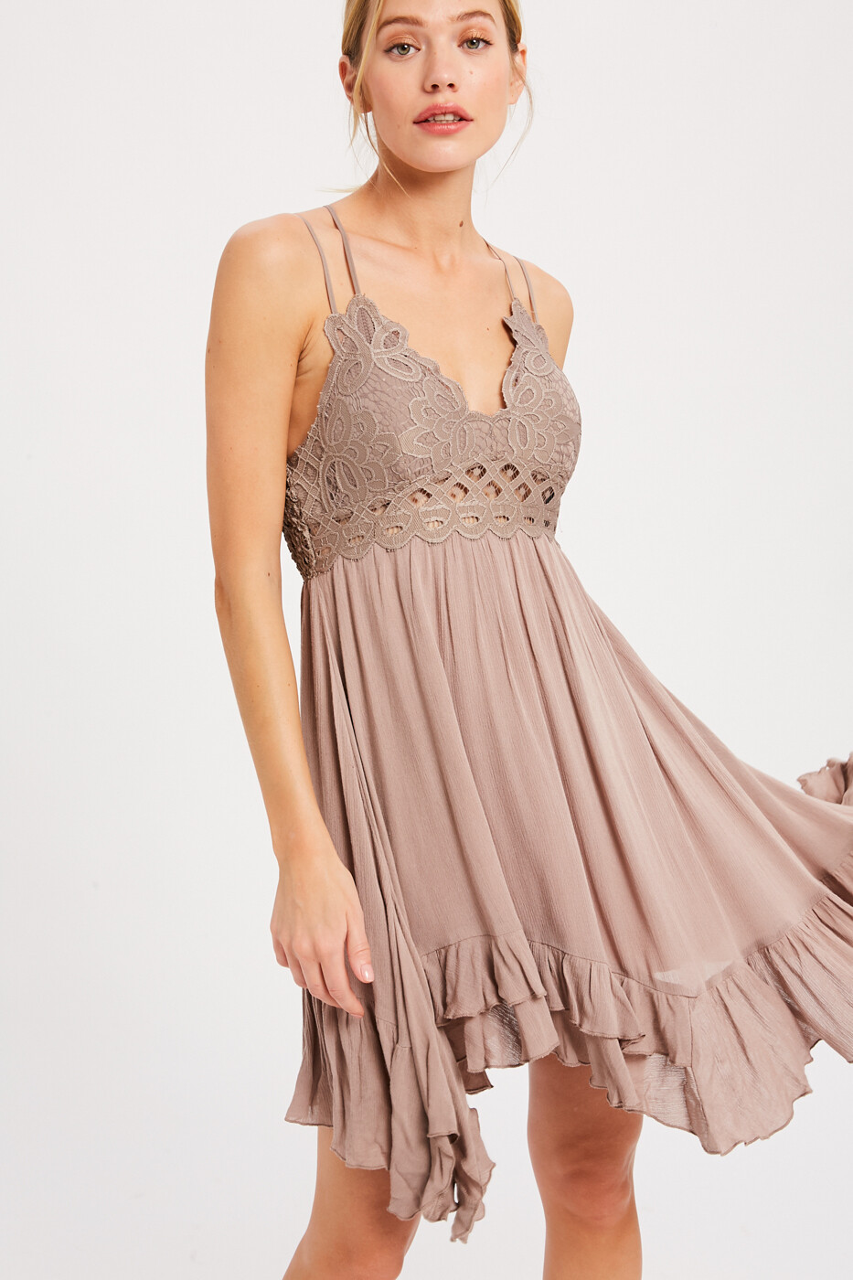 Cocoa Baby Doll Short Dress w/Bralette Top