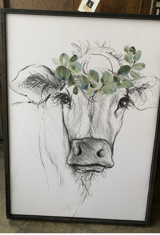Cow Sketched Sign with Frame