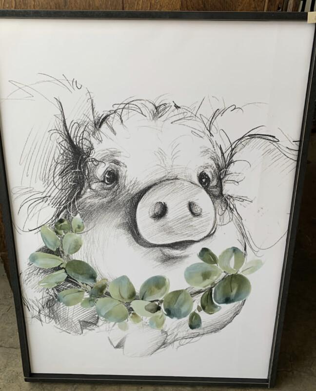 Pig Sketched Sign with Frame
