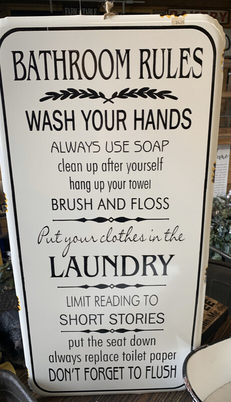 LARGE Bathroom Rules Enamel Sign