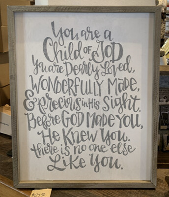 You are a Child of God Framed Calligraphy