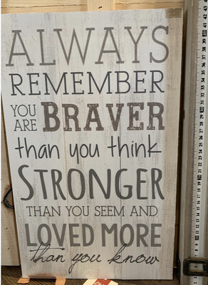 Always Remember you are Braver Stronger Than Think