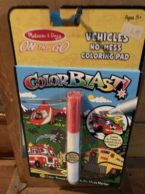 Color Blast Vehicles No Mess Coloring Pad