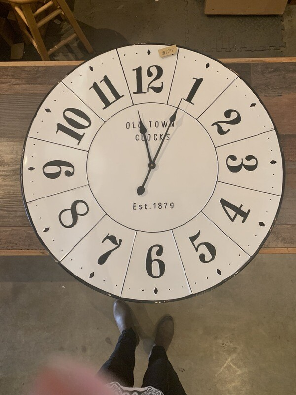 """Old Town Clocks White Black Large Numbers 1879 32"""""""