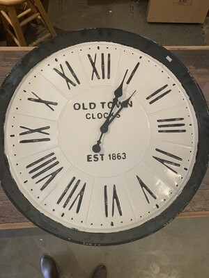 Large Old Town Clocks White Black Enamel 28""