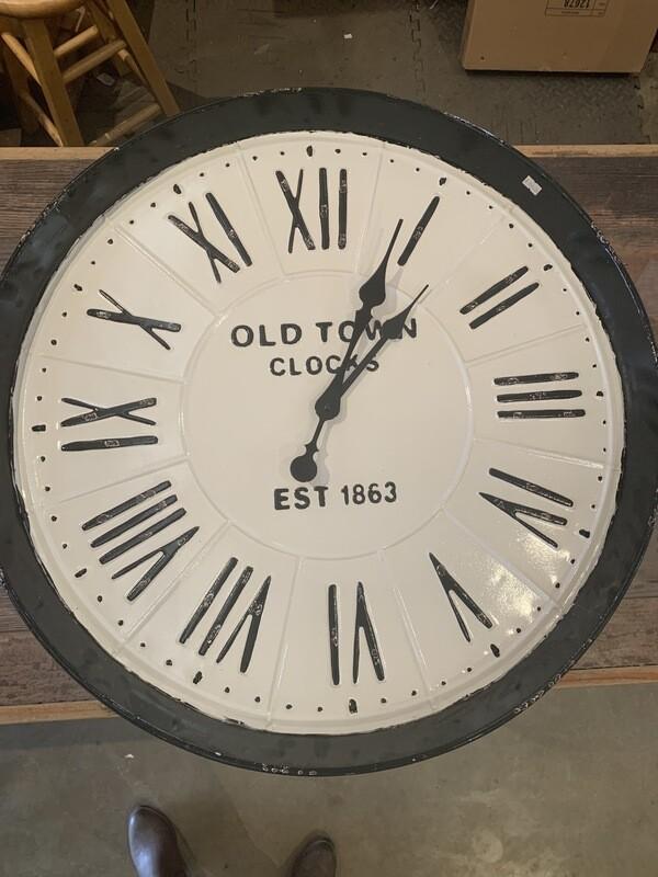 """Large Old Town Clocks White Black Enamel 28"""""""