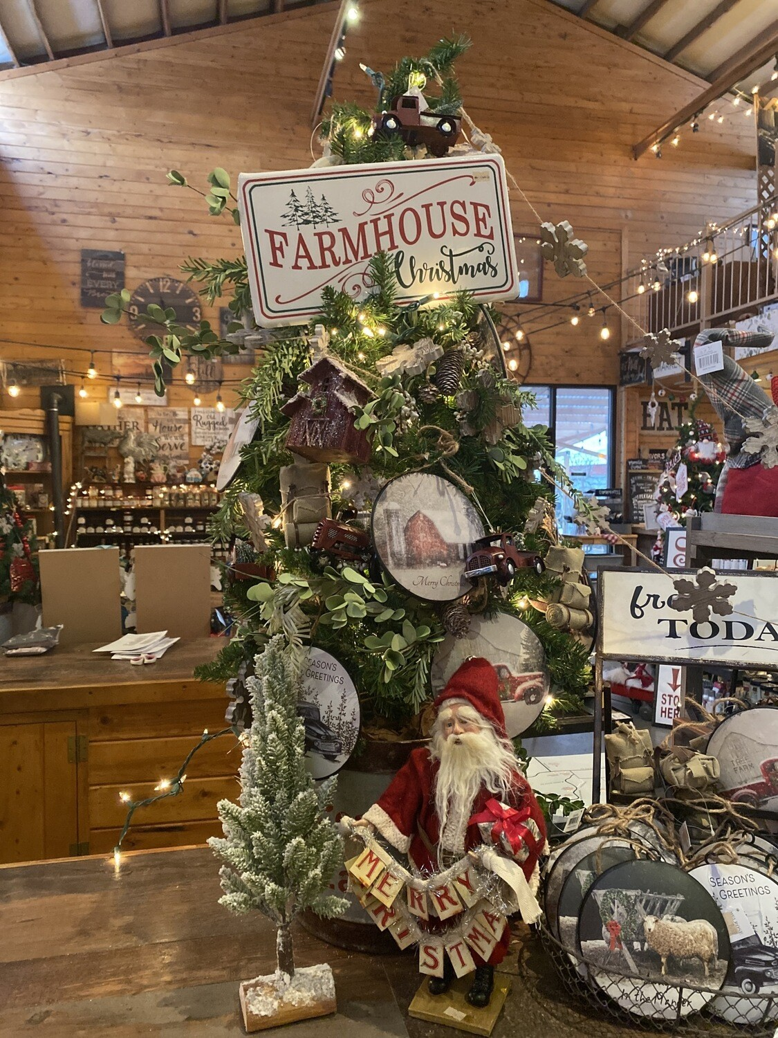 Farmhouse Christmas Tree Display