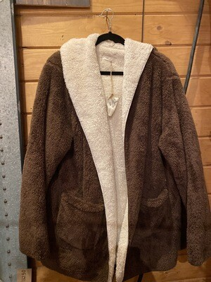 Fluffy Brown Sweater With Pockets