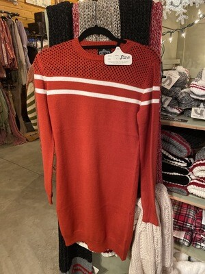 Red Sweater Dress With White Stripes