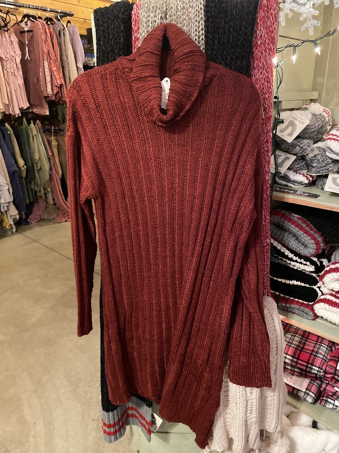 Burgundy Sweater Dress With Turtle Neck