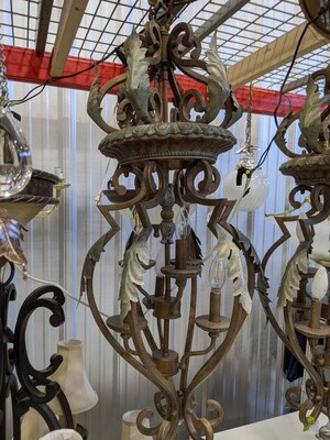 6-Light Chandelier - Bronze w/Leaf Accents #1040