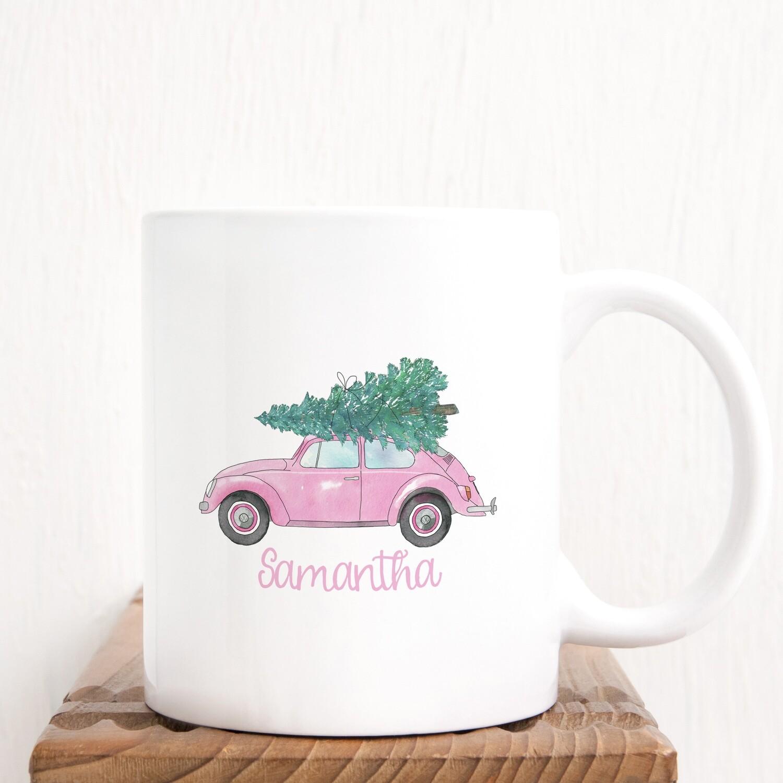 Personalized Pink Vw Bug Christmas Mug
