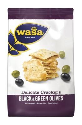 Ploni krekeriai su juodosiomis ir žaliosiomis alyvuogėmis ,,Wasa