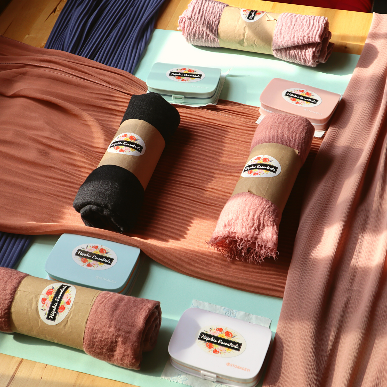 Half Pleated Chiffon + Hijab Kits Bundle Set