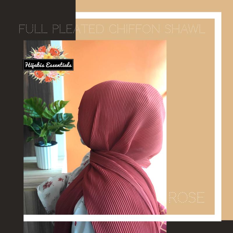 Full Pleated Chiffon + Hijab Kits Bundle Set