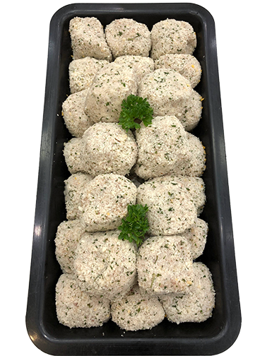 Chicken Cheese and Bacon Rissoles - Per Kg