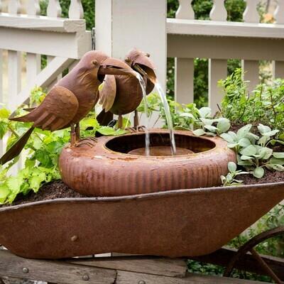 Folk Art Crow Fountain