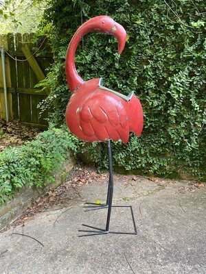 Metal Flamingo Planter/Ice Bucket