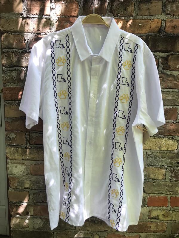 Men's LSU Linen Button Up Shirt