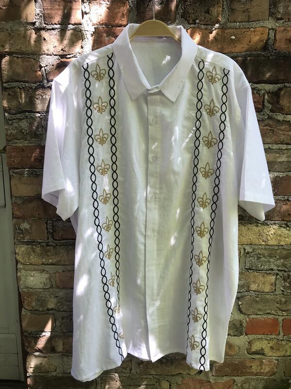 Men's Saints Linen Button Up Shirt