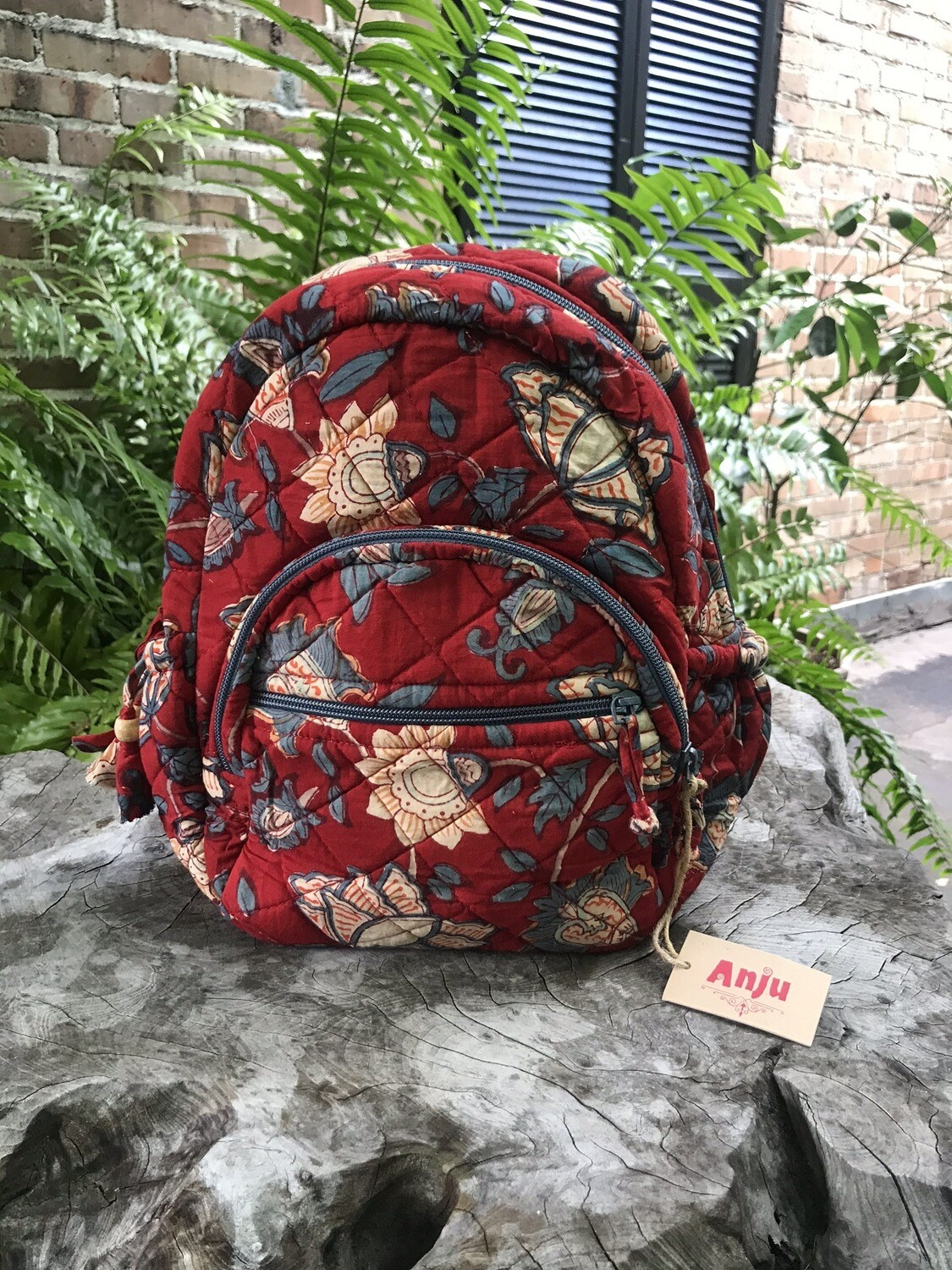 Quilted Backpack in Red