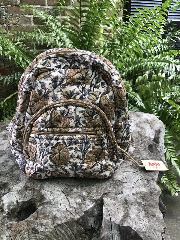 Quilted Backpack in Tan