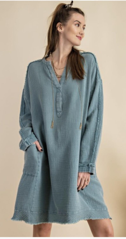 Blue Gauze/cotton Dress