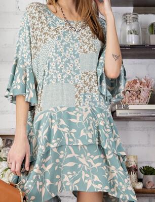 Patchwork Smock Dress - Blue